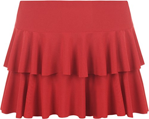 WearAll - Neu Damen Rara Mini Rock Kurz Skirt - Rot - 36-38 (Rüschen Rock Jersey)