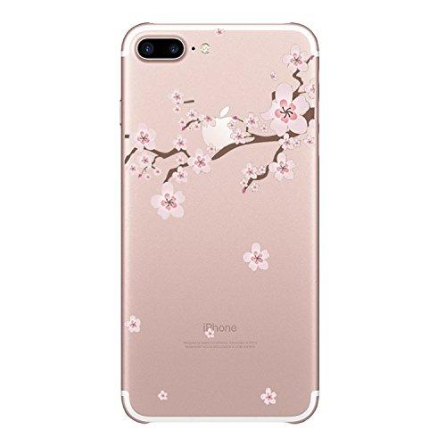 Qissy® TPU Cover iPhone 7 Plus 5,5 pollici Case marche popolari Anti-scratch Gel Silicone Custodia Cherry plum 7