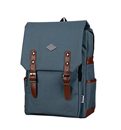 Vintage Unisex Casual Canvas Rucksack Rucksack Schultasche Ranzen Tasche Wandern Grey