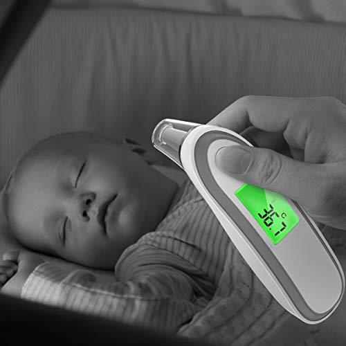 Fieberthermometer Ohrthermometer Stirnthermometer, Hizek Professional 2 IN 1 Infrarot Digital Thermometer für Baby & Kinder und Erwachsene, mit Sofortiges Lesen Fieberwarnung