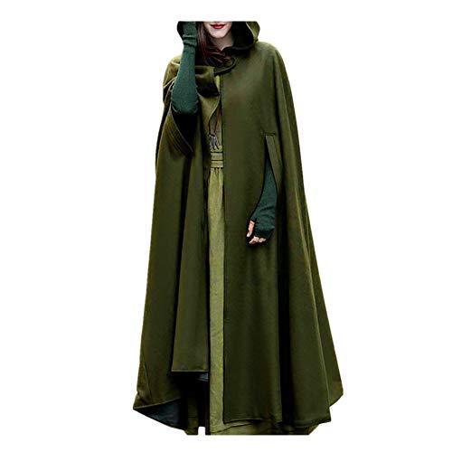 iHENGH Damen Herbst Winter Bequem Mantel Lässig Mode Jacke Frauen Trenchcoat Cardigan mit offener Vorderseite und Mantel Mantel Poncho Plus(Armeegrün, M)