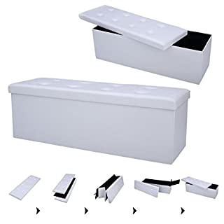 FDS COSTWAY Sitzhocker Sitzbank faltbar Sitzbox Aufbewahrungsbox Sitzwürfel Hocker Bank Sitztruhe Truhe Sitzkasten Polsterhocker PVC-Leder Farbwahl 114 x 38 x 38cm (Weiß)