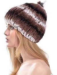 VEMOLLA Mohawk Cappello in Pelliccia di Coniglio Rex con PON PON in Pelliccia  di Volpe Indaco 978958bd2c6f