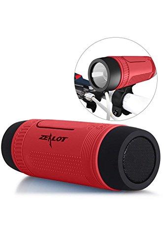 SLCSL Bluetooth Fahrrad Lautsprecher 4000 mAh Powerbank Wasserdichte Lautsprecher mit Voller Outdoor Zubehör (Fahrradhalterung, Karabiner .) (Rot)