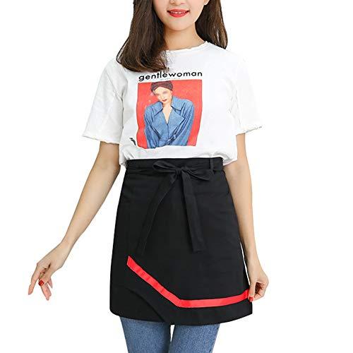 WHAIYAO-Schürze Wasserdicht Mit Taschen Baumwolle Halbe Kurze Taille Lätzchen Küchenrestaurant Kittel for Männer Frau, 3 Farben (Color : Black, Size : 43X85cm) -