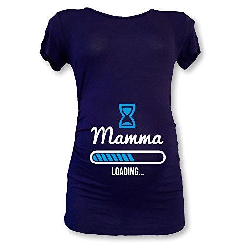 T shirt maglia premaman mezza manica mamma loading blu maschietto m (fm-20)