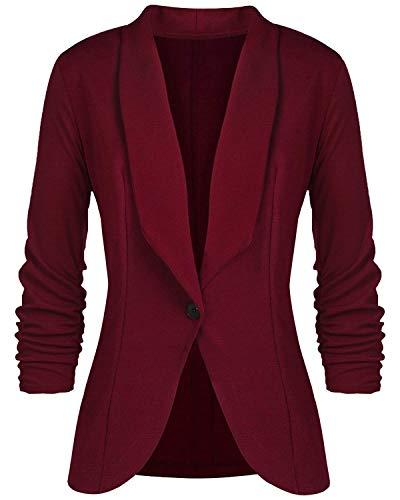 Blazer Damen Jerseyblazer Jacke Kurz Langarm Sweatblazer Casual Oberteil Sweat Tailliert Schwarz Slim Business Büro elegant (L, Weinrot)