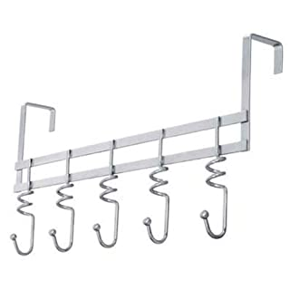 Gancio 5 Hook Over Door Clothes Coat Hanger Made Of Swirl Chrome Material