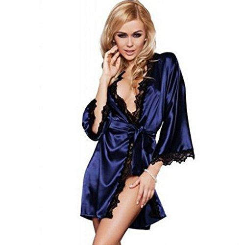 Damen Morgenmantel kurz, Sondereu kimono damen mit spitze V-Ausschnitt Nachtwäsche Satin Bademantel Schlafanzug, Blau, Gr. S (Baumwolle Satin Blau Robe)