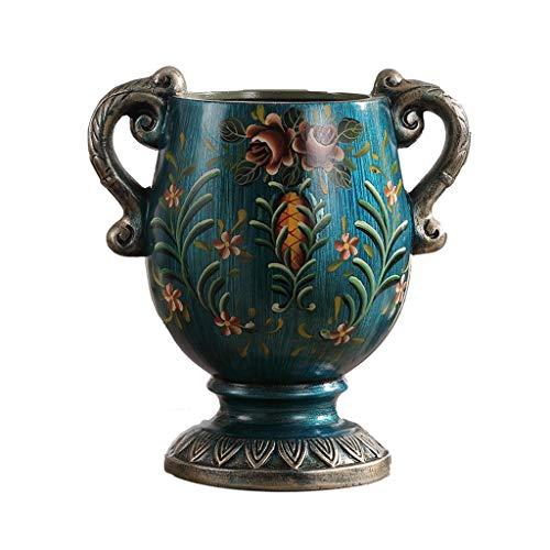 JXLBB Paon Bleu Européen Petit Vase Blues Pays Américain Imitation Rétro Café Nostalgique Simulation Séché Fleur Tableau Décoration De Fleurs