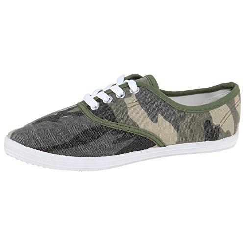 Damen Sneakers Stoff Sneaker Low Muster Basic Schuhe Animal Print Freizeit Turnschuhe Schnürer Flandell Camouflage Dunkelgrün