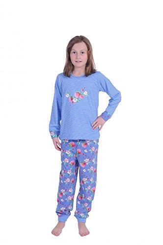 Cooler Mädchen Pyjama langarm mit Bündchen gestreift -58718, Farbe:blau;Größe:164 (Pyjama Cooler)