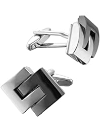 Square Mile Men's Rhodium Plated Base Metal and Black Cufflinks