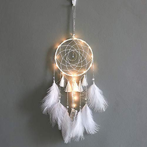 Balight Feder Traumfänger mit 20 LED Lichterketten 2 m batteriebetriebene Hängeornamente Bohemian Hochzeit Dekoration, Boho Chic, Kinderzimmer Decor, weiß, Diameter: 15cm, Length: 58cm