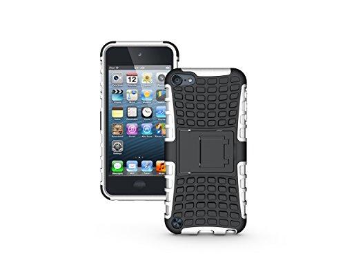 Apple iPod Touch 5 / Touch 6 Kasten, CaseFirst Reifenstreifen Hybrid Combo Shockproof Rüstung Robuste Dual Layer Case Cover mit Kickstand für Apple iPod Touch 5 / Touch 6 (Weiß)