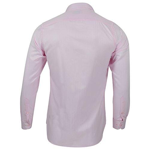Captain Slim Fit Herren Hemden (in 24 Verschiedenen Farben) Langarm-Hemd 100% Baumwolle Rosa (geriffelt)