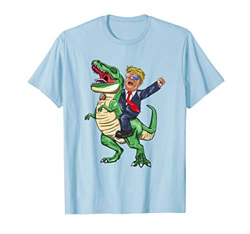 President Trump American Flag Brille Riding T Rex  T-Shirt