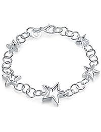 lekima 19,5cm cobre cinco colgante hueca Star Loop encanto brazalete pulsera mano cadena Fancy regalo mujeres, color plateado (incluye bolsa de regalo)