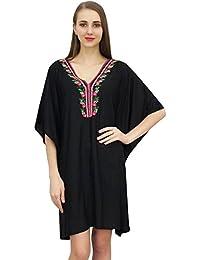 532b65d469 Bimba Women's Rayon Summer Kimono Sleeve Beachwear Short Kaftan Dress