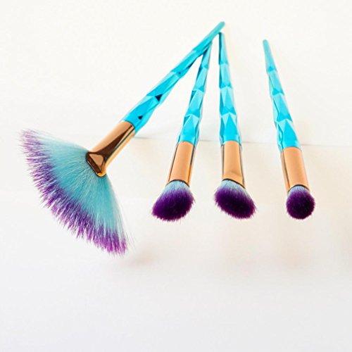 Pinceaux de Maquillage,Bekoard Nouveau 4pcs Diamant Cosmétique Sourcils Pinceau Maquillage Brosse sets Kits outils (Bleu)