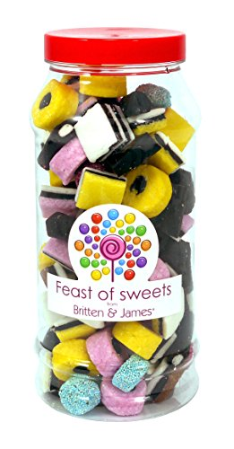 LIQUORICE ALLSORTS 600g+. Feast of Sweets Jar by Britten & James®. Dulces británicos tradicionales en un frasco reutilizable de plástico de 970 ml. Un regalo perfecto para Navidad, cumpleaños, padre, madre, abuela, abuelo, bodas y fiestas.