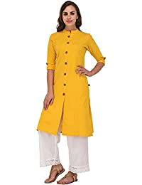 Pistaa Women Yellow Cotton Front Open Solid Kurta With Plus Size