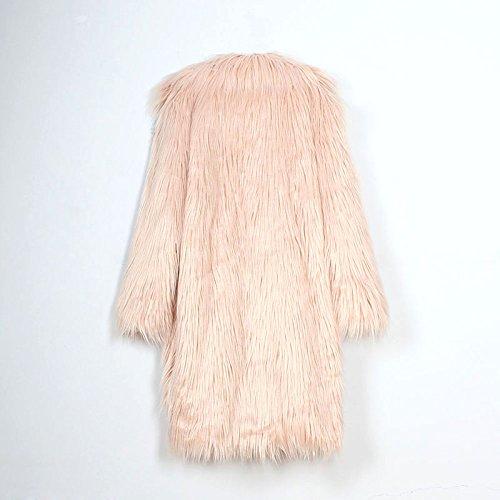 iBaste Cappotto Donna Lunga Sintetico Pelliccia Elegante Giacca Inverno Pelo Giubbotto Rosa