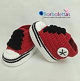 Zapatillas Deportivas para Bebé Estilo Converse, Rojo y Negro, 0-3 meses