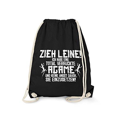 Fashionalarm Turnbeutel - Zieh Leine - verrückte Agame   Fun Rucksack mit lustigem Spruch Echsen Halter Züchter Besitzer Bartagame Wasseragame, Farbe:schwarz
