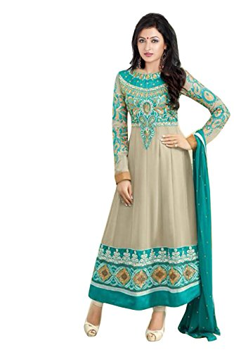 Clickedia Women Faux Georgette Dress Material (El30010 _Biege And Blue _Free Size)