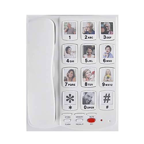 PHONE Schnurgebundenes Telefon Mit GroßEm Knopf. Anruferblinklichter, Lautsprecher, 10 Zielwahlnummern. Weiß / 225 * 225 * 68 (Mm) Flash 2 Voicemail