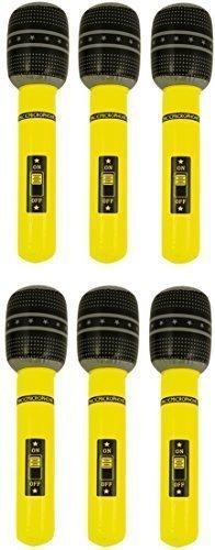6 x 40cm gelb aufblasbar Mikrofone Blasen geschnürt -