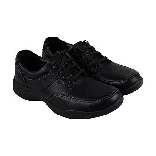 CLARKS Men's Wave Korey Mix Moc Toe Shoe,Black Leather,US 12 M Black Leather Moc Toe