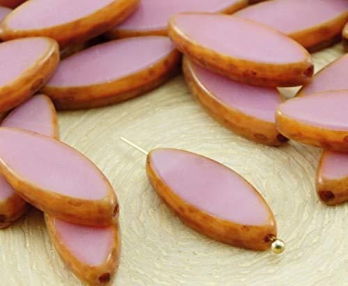 6pcs Picasso Brun Soyeux Valentine Rose Opale Ovale et Plate de Pétales de Table à la Fenêtre de Coupe tchèque Perles de Verre 18mm x 7mm