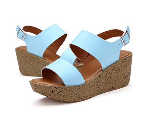 WZG Sommer neue Ledersandalen lässige Sandalen dicke Kruste Hang mit hochhackigen Sandalen schüttelte seine Schuhe Leder Slip Blue