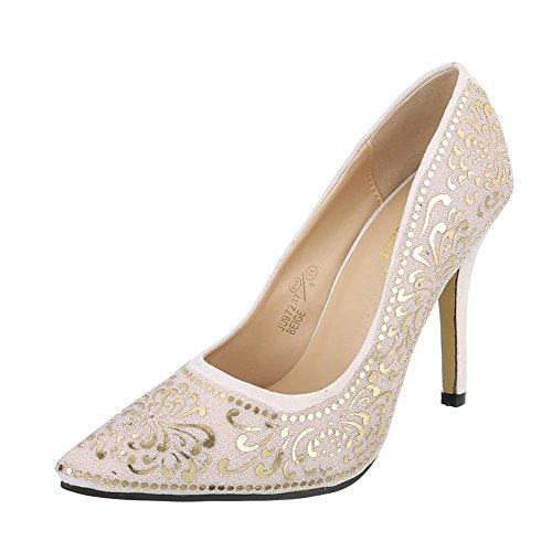 High Heel Damenschuhe Plateau Pfennig-/Stilettoabsatz High Heels Ital-Design Pumps Beige