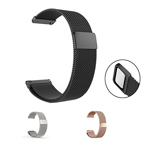 22mm Milanese Armband, Ceston Universal Edelstahl Milanese Loop Uhrenarmband Wechselarmband 18mm, 20mm, 22mm und Auswahl von 3 Farben (schwarz, 22mm)
