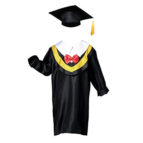 Amosfun Kinder Abschlusskleid und Mütze Abschlusskappe Quaste für Vorschule 130cm Höhe (gelbe Linie)