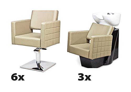 Kit mobili per parrucchieri cubo 6 x poltrona parrucchiere + 3 x lavaggio parrucchiere 100 colori tappezzeria