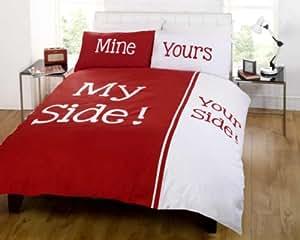 Bettdecke My Side Your Side Double King ähnlich zu his seite ihre seite purpurrot,grau blau - Rot, Doppel