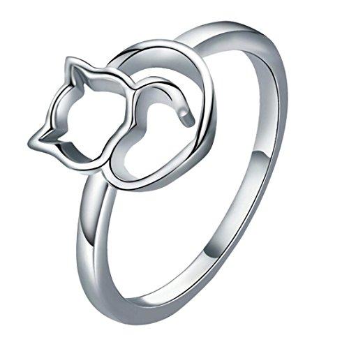 (Mingfa.y_rings Frauen Mädchen 2018Fashion Ehering Verlobungsring Ringe Mingfa Cute Cat Statement Ring Party Schmuck, Legierung, Silber, 8)