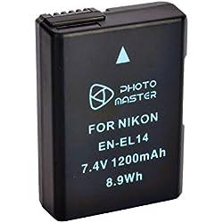 PHOTO MASTER EN-EL14/EN-EL14a Batterie de Rechange pour Nikon D3100, D3200, D3300, D5100, D5200, D5300, D5500, Coolpix P7000, P7100, P7700, P7800 Caméra