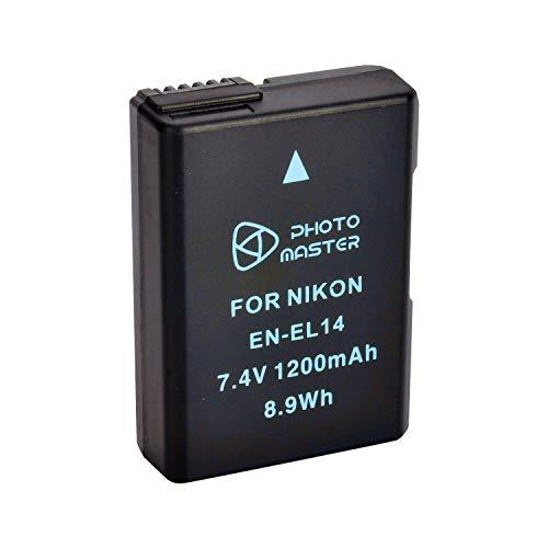 PHOTO MASTER EN-EL14 EN-EL14a Ersatz Akkus für Nikon D3100 D3200 D3300 D5100 D5200 D5300 D5500, Coolpix P7000 P7100 P7700 P7800 DSLR-Kamera, Battery Grip BG-2G & Battery Charger MH-24
