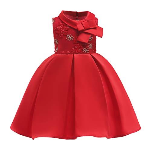 ssin Rosette Blume Kleider Tüll Puffy Party Ärmellos Brautjungfer Taufe Prinzessin Kommunion Geburtstag Party Ballkleid 2-9 Jahrerot150 ()