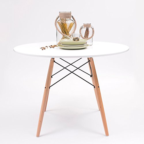 Mesa de cocina / comedor TOWER redonda 100 cm. Tapa lacada blanca.