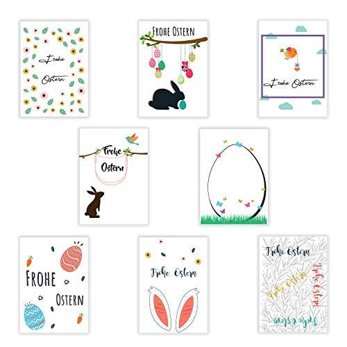 8 Osterkarten mit Briefumschlägen | Postkarten Format A6 | Ostereier | Osterhase | Grußkarten als Postkartenset zu Ostern