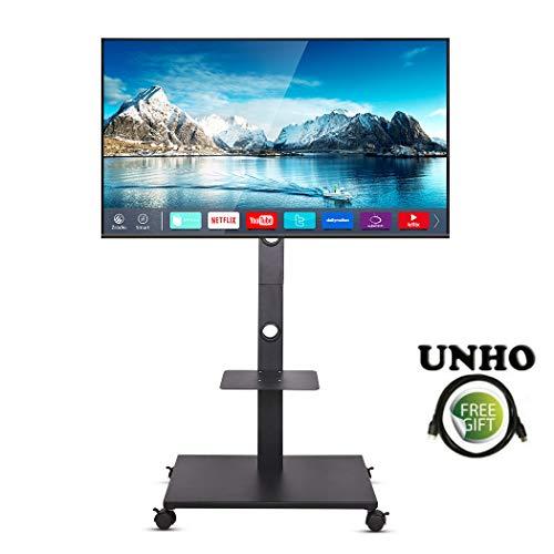 unho TV Ständer Trolley Universal Mobile TV Wagen Standfuß Drehbar Höhenverstellbar mit DVD Ablage für LCD LED OLED Plasma Bildschirm 32