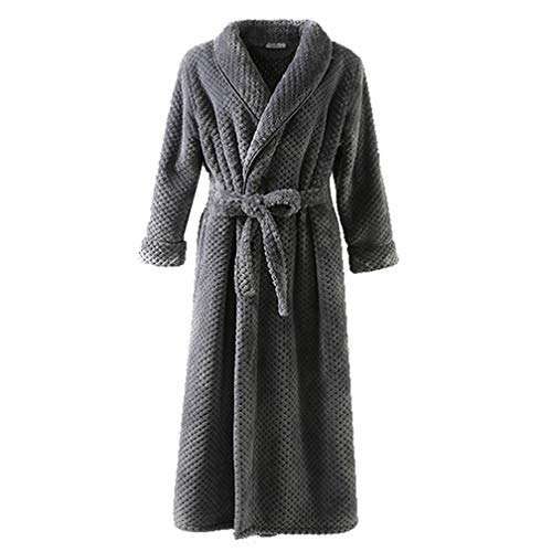 Ladies accappatoio bavero, autunno e inverno coppie robe, cardigan di flanella pigiama per uomo e donna, pigiama cintura set,gray,xl