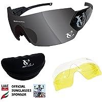 8f34ba1d6a Maxgear Ltd 3 Juegos de Lentes Intercambiables y Funda Gafas de Sol  VeloChampion Tornado Azul Ciclismo Running