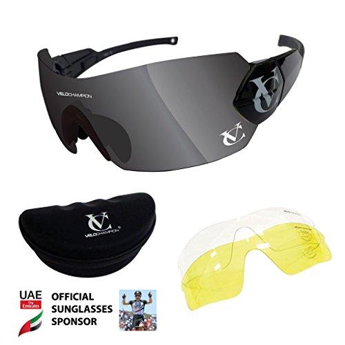 e7fb22f451 VeloChampion Negro Hypersonic - Gafas de sol, color negro puente,  espejo/amarillo/